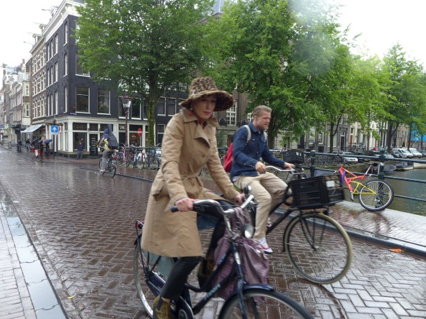 Bicycling in the rain, Amsterdam