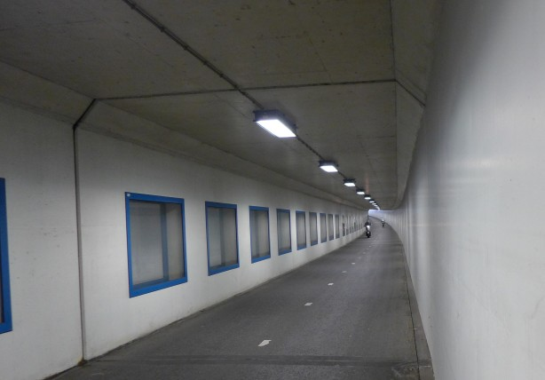 Tunnel just for bicycles and mopeds leaving Schiphol Airport