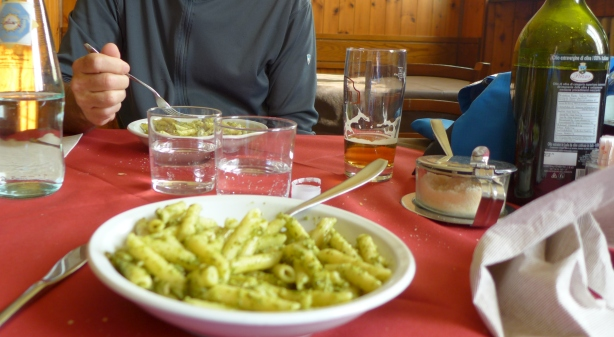 "First course, penne with pesto, in the place labelled ""Bar"""