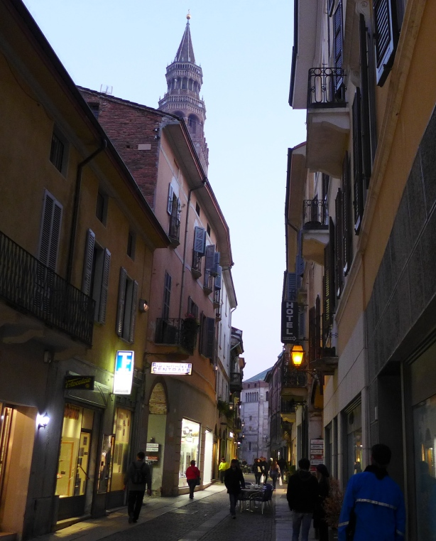 Cremona, with the Torrazzo tower in background, 343 feet tall, completed in the year 1309