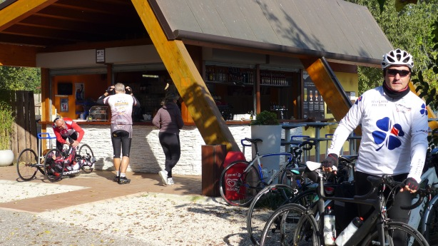 Bar catering mostly to bicyclists on a sunnday